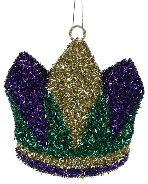 "6"" Tinsel Mardi Gras Crown Ornament"