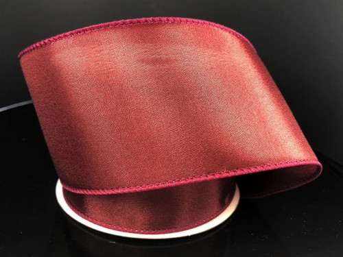 """Solid Burgundy Satin Ribbon Wired 2.5"""" x 10Yds"""