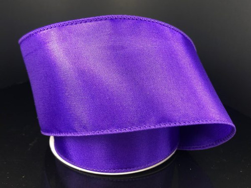 """Solid Purple Satin Ribbon Wired 2.5"""" x 10Yds"""