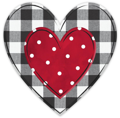 "12"" Embossed Metal Check Heart:"
