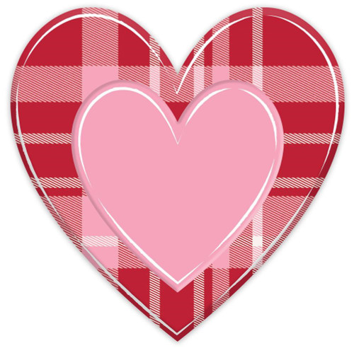 "12"" Embossed Metal Red/Pink Plaid Heart"