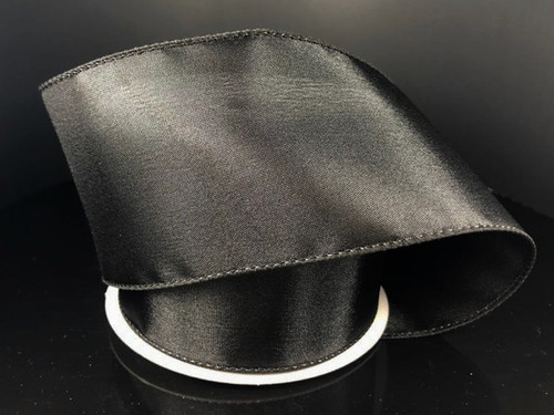 """Solid Black Satin Ribbon Wired 2.5"""" x 10Yds"""