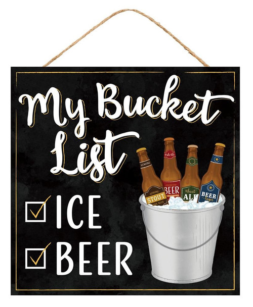 "10"" Beer Bucket List Sign"