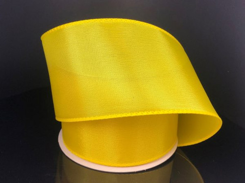 """Solid Yellow (Daffodil) Satin Ribbon Wired 2.5"""" x 10Yds"""