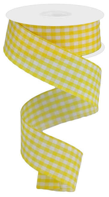 "1.5"" Gingham Ribbon: Golden Yellow - 10Yds"