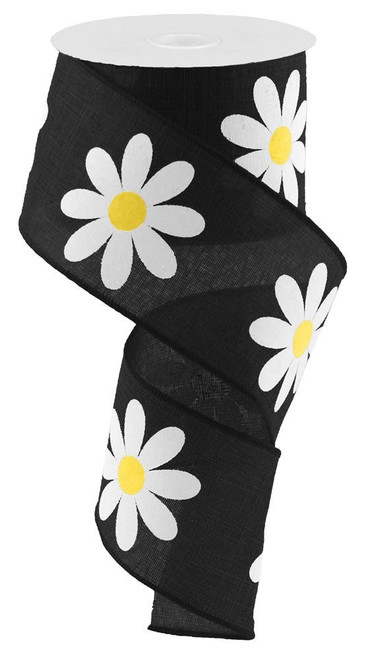 "2.5"" Bold Daisy Print Ribbon: Black - 10Yds"