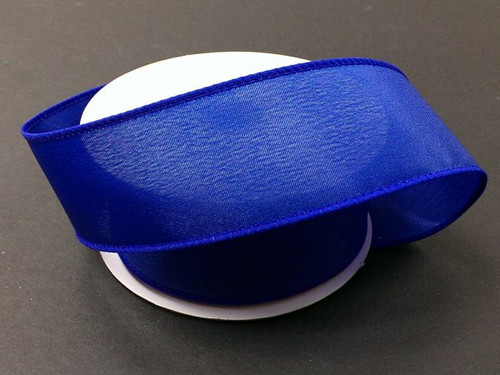 """Solid Royal Blue Satin Ribbon Wired 2.5"""" x 10Yds"""