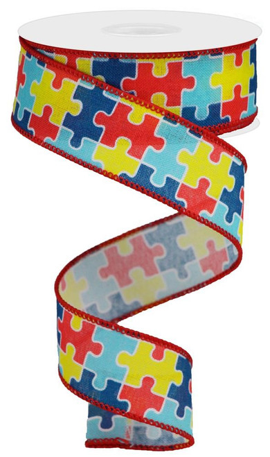 "1.5"" Multi Color Puzzle Ribbon Linen - 10Yds"