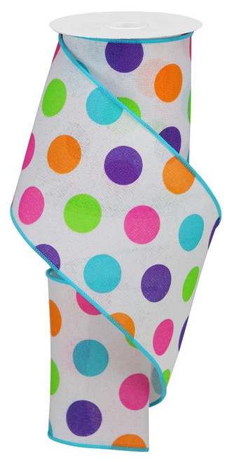 "4"" Bright Multicolor Polka Dot on Linen - 10Yds"