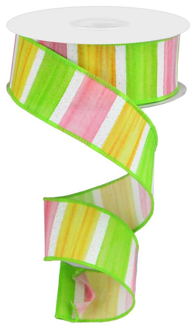 "1.5"" Spring Watercolor Stripe Ribbon: Pink/Yllw/Grn/Wht - 10yds"
