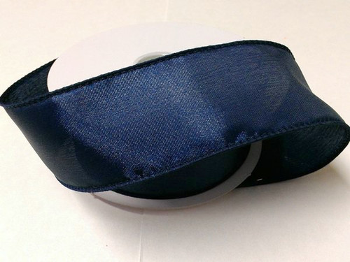 """Solid Navy Blue Satin Ribbon Wired 2.5"""" x 10Yds"""