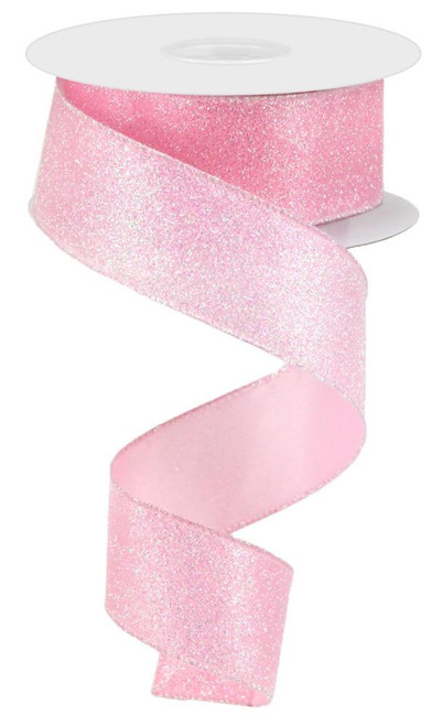 "1.5"" Iridescent Glitter Satin Ribbon: Lt Pink- 10yds"