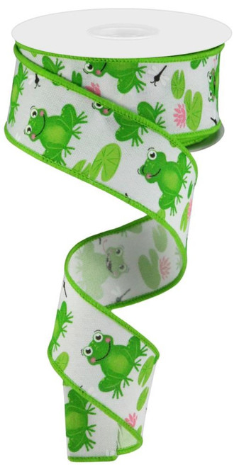 "1.5"" Spring Frog Ribbon: White - 10Yds"