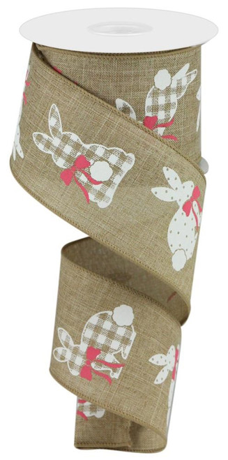 "2.5"" Pattern Bunny Ribbon: Beige - 10Yds"