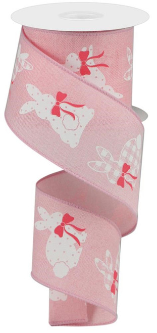 "2.5"" Pattern Bunny Ribbon: Pale Pink - 10Yds"
