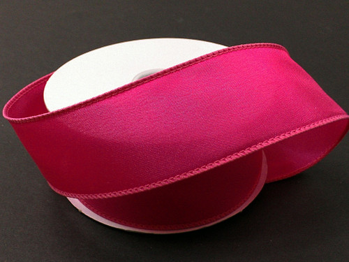 """Solid Fuchsia Hot Pink Satin Ribbon Wired 2.5"""" x 10Yds"""