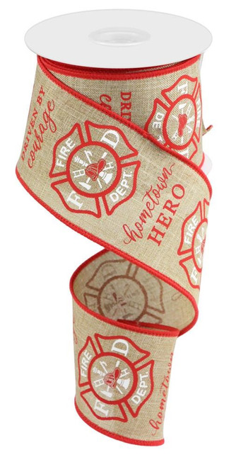 "2.5"" Firefighter Badge Ribbon: Lt Beige - 10yds"