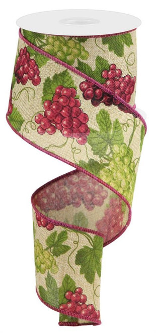 "2.5"" Grapes Ribbon: Lt Beige - 10Yds"