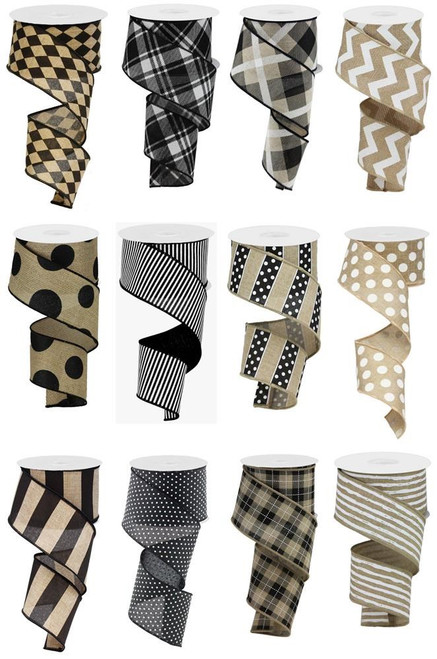 "2.5"" Neutral Ribbon Assortment, Box of 12"