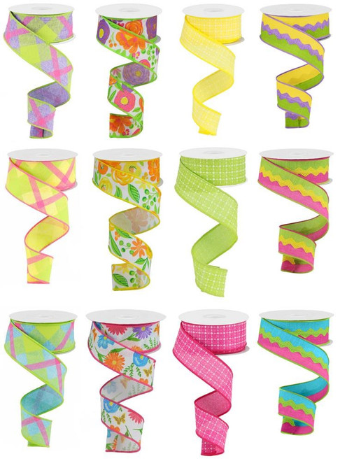 "1.5"" Summer Bloom Ribbon Assortment, Box of 12"