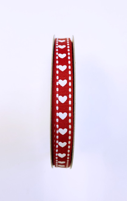 "3/8"" Red/White Grosgrain Heart Ribbon - 10yds"