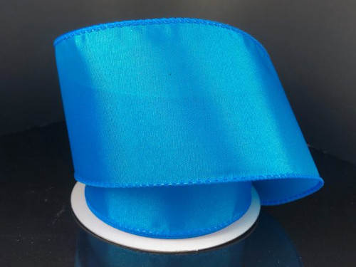 """Solid Turquoise Satin Ribbon Wired 2.5"""" x 10Yds"""
