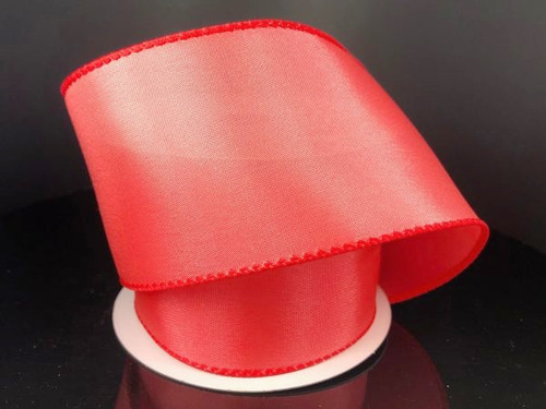 """Solid Melon/Coral Satin Ribbon Wired 2.5"""" x 10Yds"""