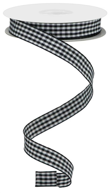 "0.625"" Mini Gingham Check Ribbon: Blk/Wht - 10yds"