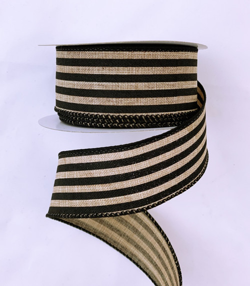 "1.5"" Vertical Stripe Ribbon: Natural/Black -10Yds"