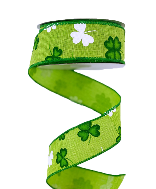 "1.5"" Lime Linen Shamrock Ribbon - 10Yds"