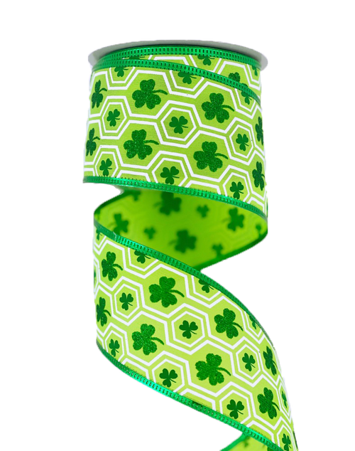 "2.5"" Satin Shamrock Hexagon Ribbon - 10Yds"