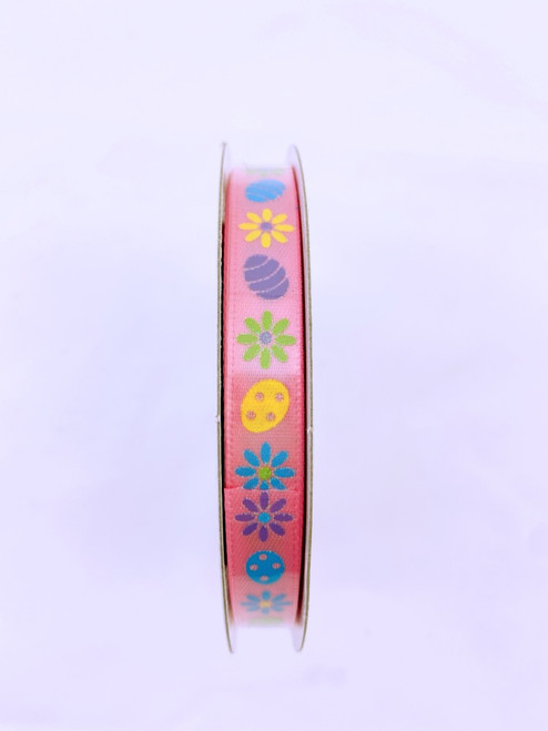 "3/8"" Satin Easter Egg Daisy Ribbon: Pink - 10yds"