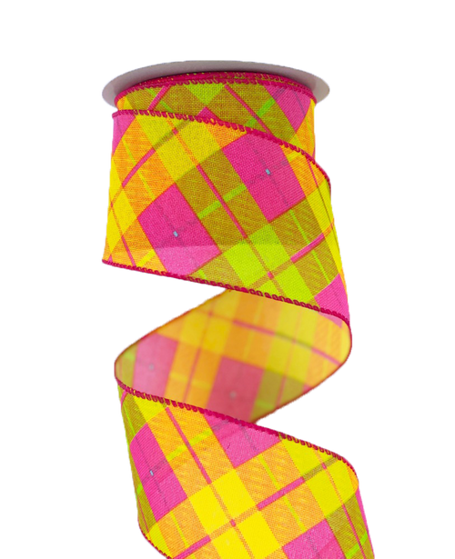 "2.5"" Fuchsia Lime Yllw Sally Plaid Ribbon (10yds)"