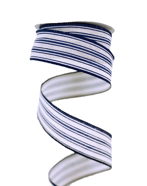 "1.5"" Ticking Stripe Ribbon: Cream/Navy Blue - 10yds"