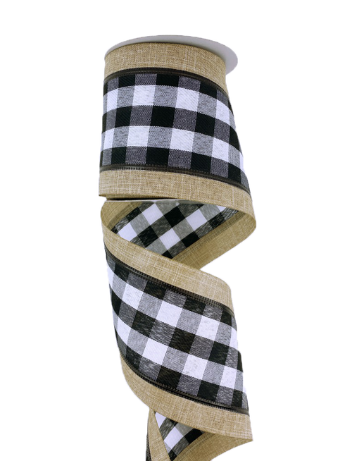 "4"" Black/Wht Check Natural Edge Ribbon - 10yd"
