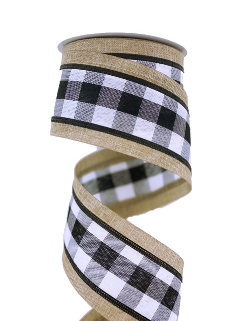 "2.5"" Black/Wht Check Natural Edge Ribbon - 10yd"