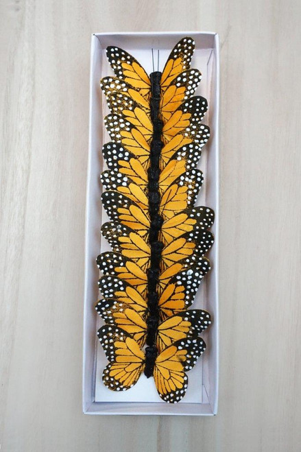 "3"" Orange Monarch Butterflies on Wire, 12 pack"