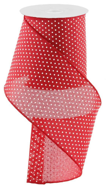 "4"" Raised Swiss Dot Ribbon: Red/Wht - 10yd"