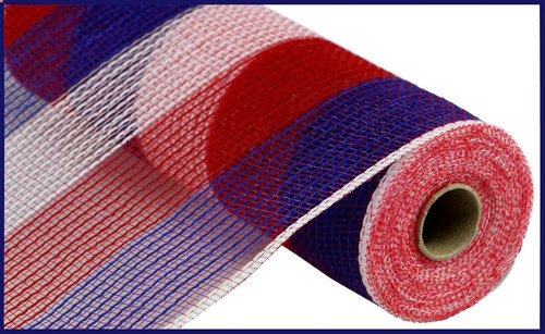 "10.5"" Poly Faux Jute Mesh: Wide Stripe Red/White/Blue Stripe"
