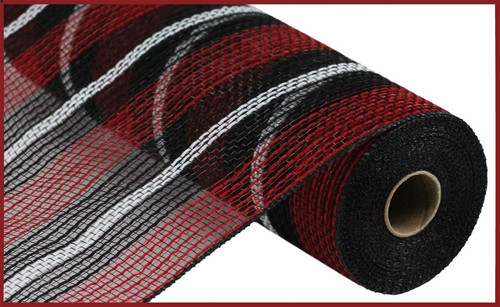 "10.5"" Faux Jute Mesh: Red/Blk/Wht Mix Stripe"