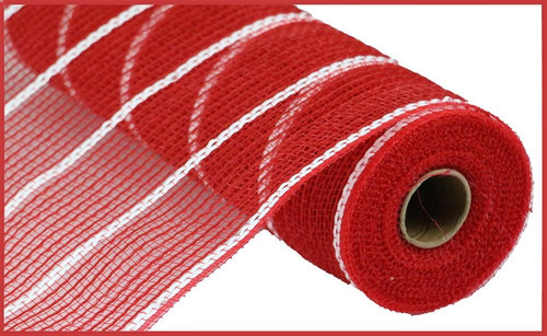 "10.5"" Faux Jute Mesh: Red/Matte White Stripe"