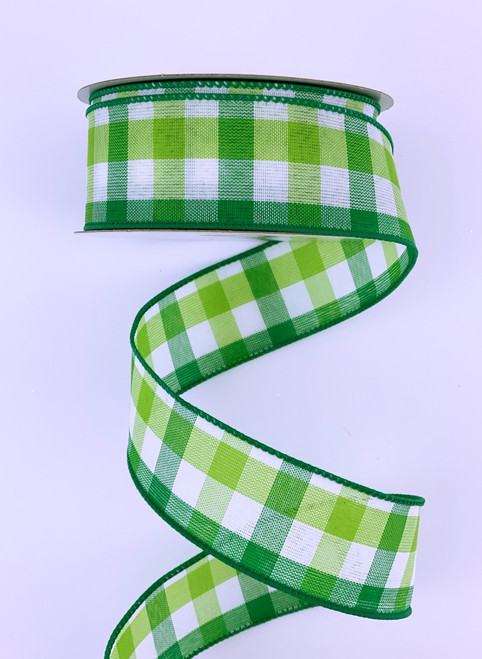 "1.5"" Greens Wht Garden Chex Ribbon (10yds)"