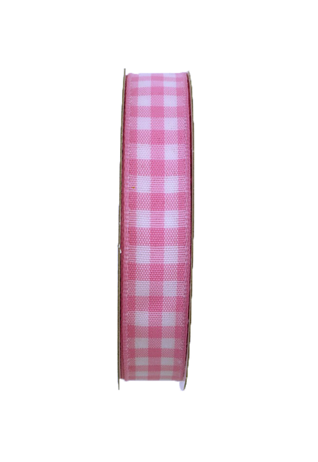 "5/8"" Gingham Check Ribbon: Pink/Wht - 10yds"
