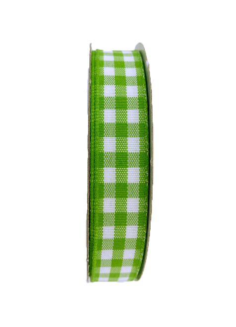 "5/8"" Gingham Check Ribbon: Lime Green/Wht - 10yds"