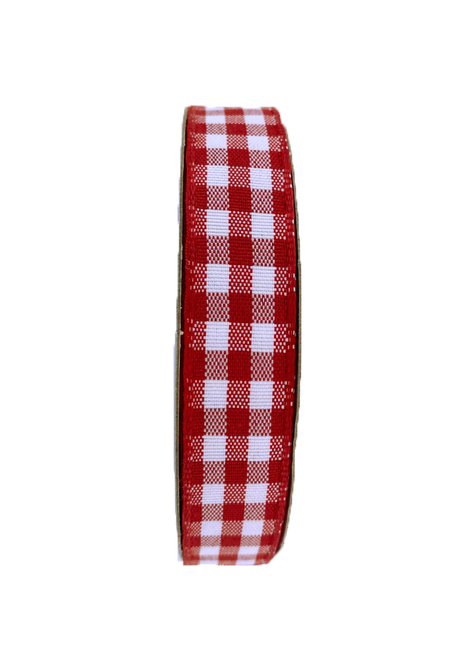 "5/8"" Gingham Check Ribbon: Red/Wht - 10yds"