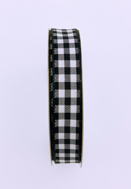 "5/8"" Gingham Check Ribbon: Blk/Wht - 10yds"