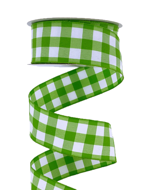 """1.5"""" Classica Check Ribbon: Lime Green/Wht - 10yds"""