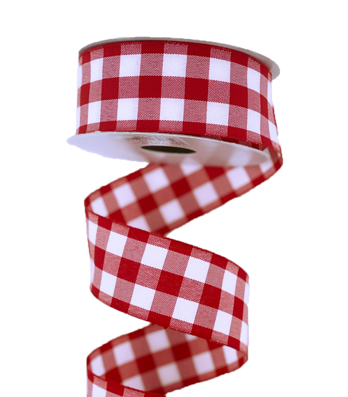 "1.5"" Classica Check Ribbon: Red/Wht - 10yds"