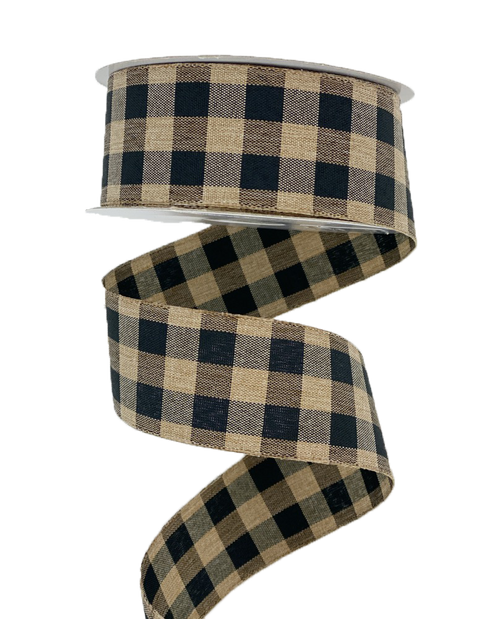 "1.5"" Classica Check Ribbon: Black/Tan - 10yds"