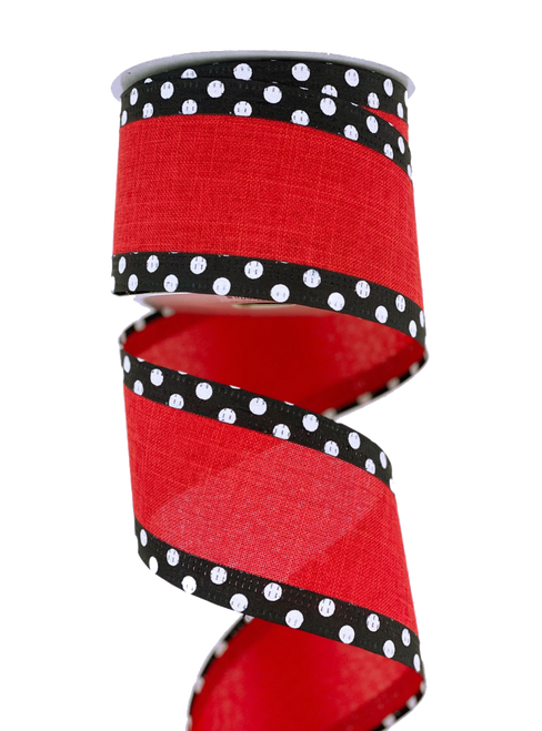 "2.5"" x 10yd Red Linen Blk/Wht Dot Edge Ribbon"